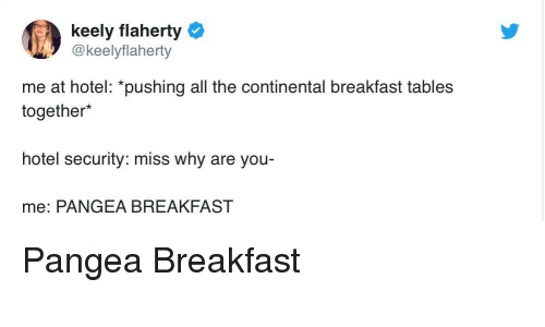 pangea: keely flaherty  @keelyflaherty  me at hotel: *pushing all the continental breakfast tables  together*  hotel security: miss why are you  me: PANGEA BREAKFAST Pangea Breakfast