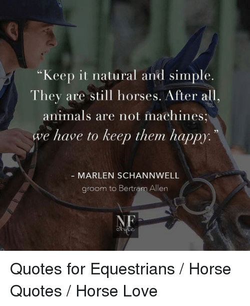 "Animals, Horses, and Love: ""Keep it natural and simple.  They are still horses. After all,  animals are not machines  we have to keep them happy:  MARLEN SCHANNWELL  groom to Bertram Allen  NE Quotes for Equestrians / Horse Quotes / Horse Love"