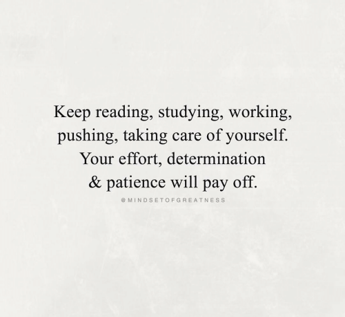 Patience, Working, and Reading: Keep reading, studying, working,  pushing, taking  care of yourself  Your effort, determination  & patience will  off.  раy  @ MINDSETOFGREATNESS