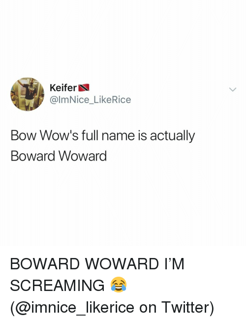 wows: Keifer  @lmNice_LikeRice  Bow Wow's full name is actually  Boward Woward BOWARD WOWARD I'M SCREAMING 😂 (@imnice_likerice on Twitter)