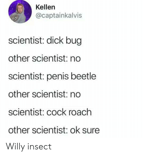 Dick, Penis, and Bug: Kellen  @captainkalvis  scientist: dick bug  other scientist: no  scientist: penis beetle  other scientist: no  scientist: cock roach  other scientist: ok sure Willy insect