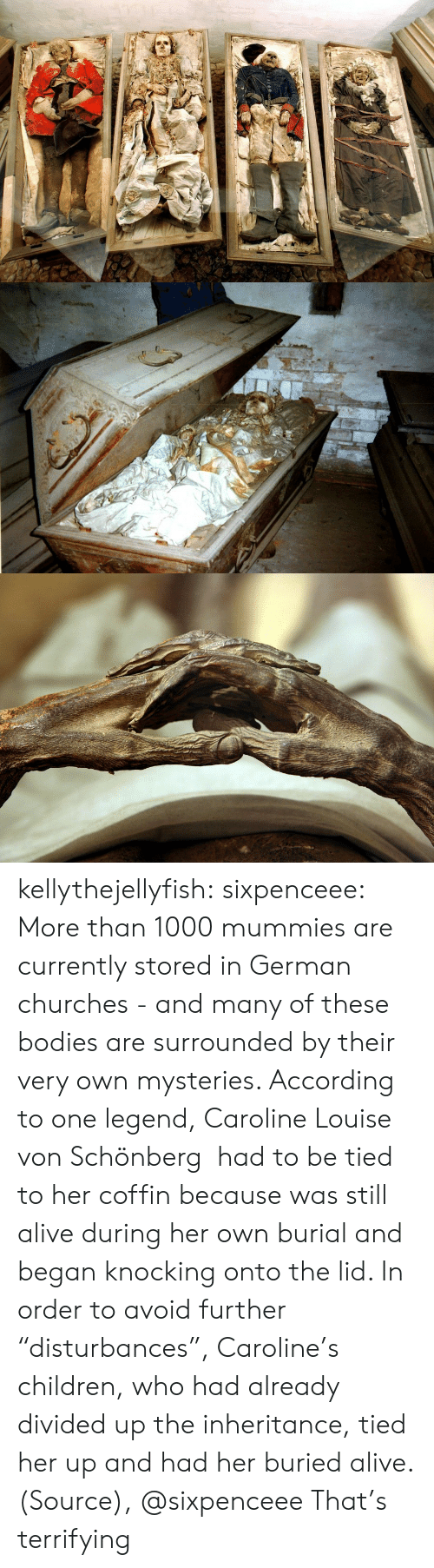 "buried: kellythejellyfish: sixpenceee:  More than 1000 mummies are currently stored in German churches - and many of these bodies are surrounded by their very own mysteries. According to one legend, Caroline Louise von Schönberg  had to be tied to her coffin because was still alive during her own burial and began knocking onto the lid. In order to avoid further ""disturbances"", Caroline's children, who had already divided up the inheritance, tied her up and had her buried alive. (Source), @sixpenceee  That's terrifying"
