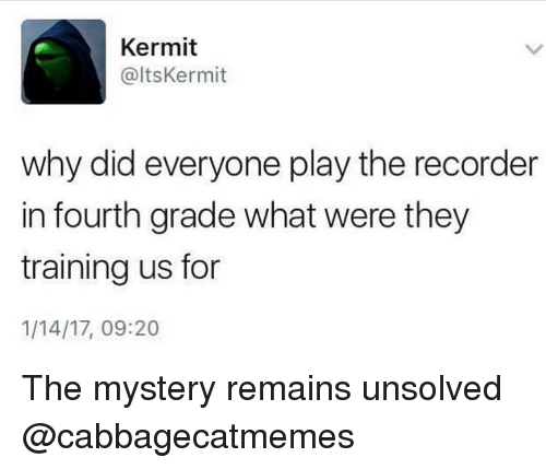 Funny, Girl Memes, and Mystery: Kermit  @ltsKermit  why did everyone play the recorder  in fourth grade what were they  training us for  1/14/17, 09:20 The mystery remains unsolved @cabbagecatmemes