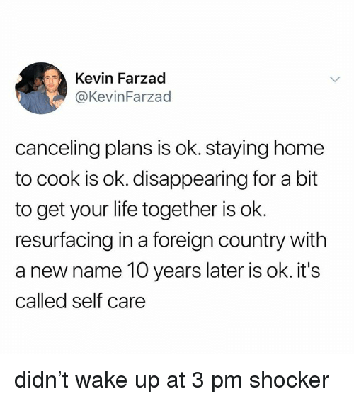 Life, Home, and 10 Years: Kevin Farzad  @KevinFarzad  canceling plans is ok. staying home  to cook is ok. disappearing for a bit  to get your life together is ok.  resurfacing in a foreign country with  a new name 10 years later is ok. it's  called self care didn't wake up at 3 pm shocker