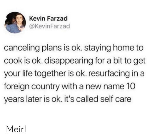 Life, Home, and MeIRL: Kevin Farzad  @KevinFarzad  canceling plans is ok. staying home to  cook is ok. disappearing for a bit to get  your life together is ok. resurfacing in a  foreign country with a new name 10  years later is ok. it's called self care Meirl