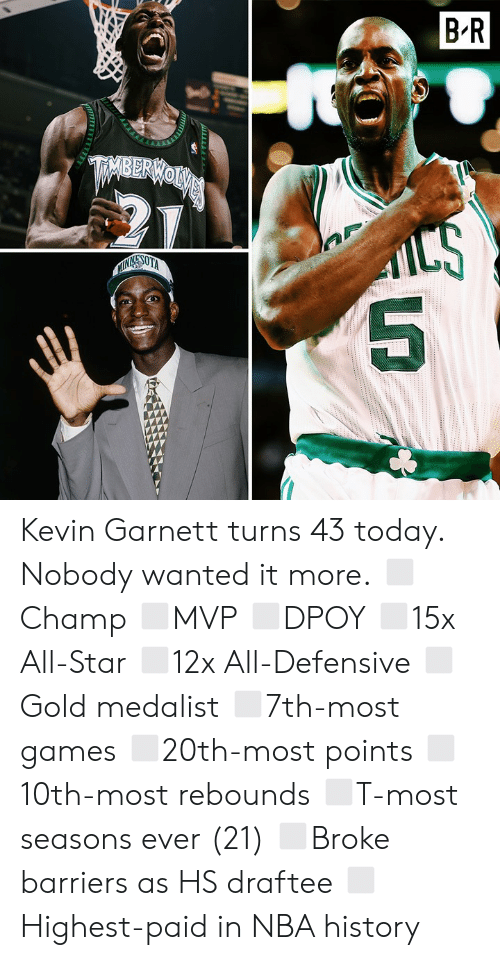 All Star: Kevin Garnett turns 43 today.  Nobody wanted it more.  ◻️Champ ◻️MVP ◻️DPOY ◻️15x All-Star ◻️12x All-Defensive ◻️Gold medalist ◻️7th-most games ◻️20th-most points ◻️10th-most rebounds ◻️T-most seasons ever (21) ◻️Broke barriers as HS draftee ◻️Highest-paid in NBA history