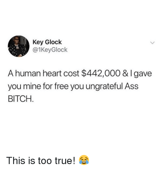 Ass, Bitch, and Memes: Key Glock  @1KeyGlock  A human heart cost $442,000 & Igave  you mine for free you ungrateful Ass  BITCH This is too true! 😂