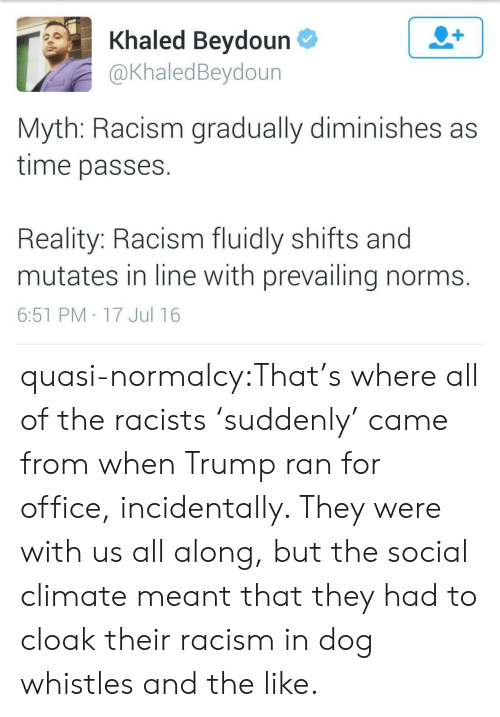 norms: Khaled Beydoun  @KhaledBeydoun  Myth: Racism gradually diminishes as  time passes  Reality: Racism fluidly shifts and  mutates in line with prevailing norms.  6:51 PM 17 Jul 16 quasi-normalcy:That's where all of the racists 'suddenly' came from when Trump ran for office, incidentally. They were with us all along, but the social climate meant that they had to cloak their racism in dog whistles and the like.