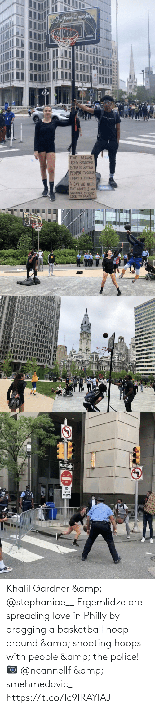 around: Khalil Gardner & @stephaniae__ Ergemlidze are spreading love in Philly by dragging a basketball hoop around & shooting hoops with people & the police!   📷 @ncannellf & smehmedovic_ https://t.co/lc9IRAYlAJ
