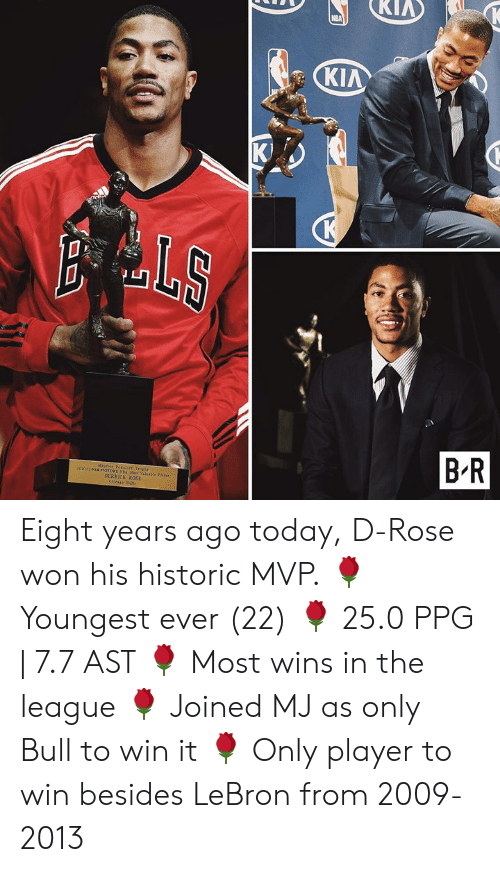 kia: KIA  K)  aluable Faye  DERRICK ROSE Eight years ago today, D-Rose won his historic MVP.  🌹 Youngest ever (22) 🌹 25.0 PPG | 7.7 AST 🌹 Most wins in the league 🌹 Joined MJ as only Bull to win it 🌹 Only player to win besides LeBron from 2009-2013