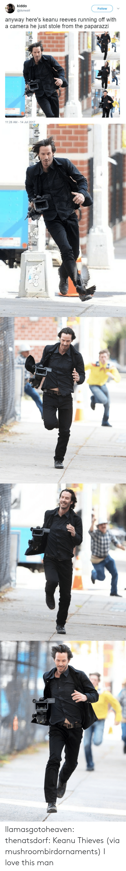 Love, Tumblr, and Blog: kiddo  @dunwall  Follow  anyway here's keanu reeves running off with  a camera he just stole from the paparazzi  11:28 AM 14 Jul 2017 llamasgotoheaven:  thenatsdorf: Keanu Thieves (via mushroombirdornaments)  I love this man