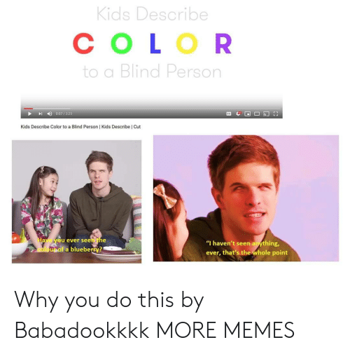 "Dank, Memes, and Target: Kids Describe  СOLOR  to a Blind Person  0:07/325  Kids Describe Color to a Blind Person | Kids Describe | Cut  Have yeu ever seen the  ""I haven't seen anything,  oloupof a blueberry?  ever, that's the whole point Why you do this by Babadookkkk MORE MEMES"