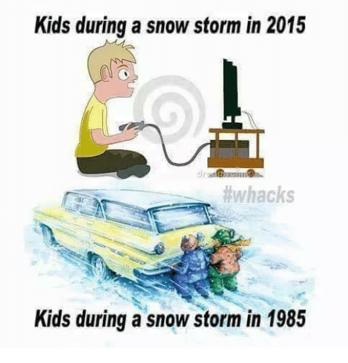Memes, Snow, and 🤖: Kids during a snowstorm in 2015  #whacks  Kids during a snow storm in 1985