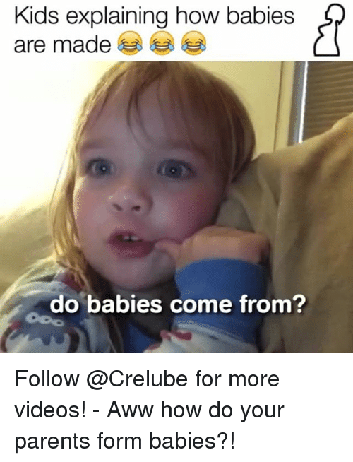 Aww, Memes, and Parents: Kids explaining how babies  are made  do babies come from? Follow @Crelube for more videos! - Aww how do your parents form babies?!