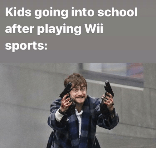 wii sports: Kids going into school  after playing Wii  sports: