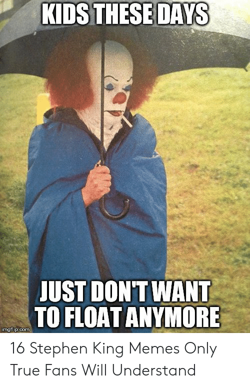 Stephen King Memes: KIDS THESE DAYS  JUST DONT WANT  TO FLOAT ANYMORE  imgflip.com 16 Stephen King Memes Only True Fans Will Understand