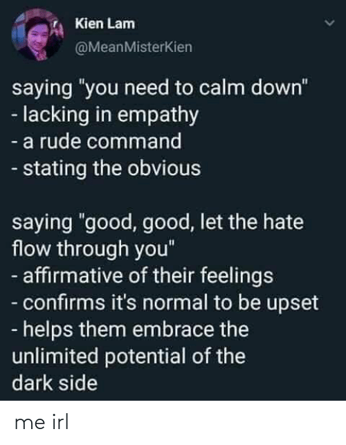 "Affirmative: Kien Lam  @MeanMisterKien  saying ""you need to calm down""  - lacking in empathy  - a rude command  - stating the obvious  saying ""good, good, let the hate  flow through you""  - affirmative of their feelings  - confirms it's normal to be upset  - helps them embrace the  unlimited potential of the  dark side me irl"