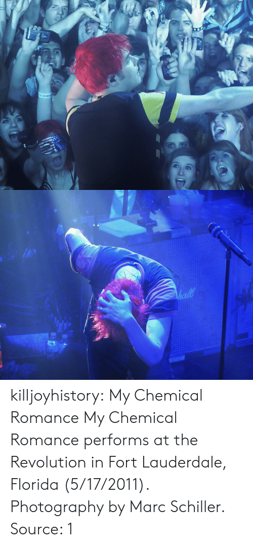 Tumblr, Blog, and Flickr: killjoyhistory:  My Chemical Romance  My Chemical Romance performs at the Revolution in Fort Lauderdale, Florida (5/17/2011). Photography by Marc Schiller.  Source: 1