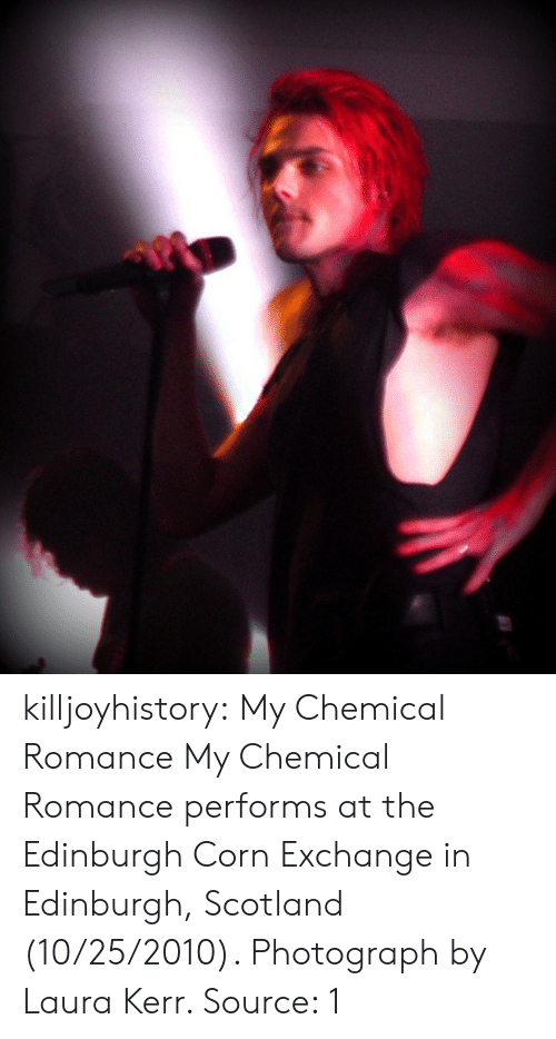 Flickr: killjoyhistory: My Chemical Romance  My Chemical Romance performs at the Edinburgh Corn Exchange in Edinburgh, Scotland (10/25/2010). Photograph by Laura Kerr.  Source: 1