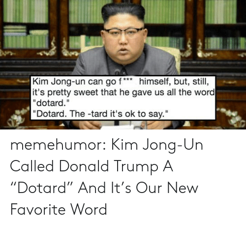 """tard: Kim Jong-un can go f*himself, but, still,  it's pretty sweet that he gave us all the word  """"dotard.""""  """"Dotard. The -tard it's ok to say."""" memehumor:  Kim Jong-Un Called Donald Trump A """"Dotard"""" And It's Our New Favorite Word"""