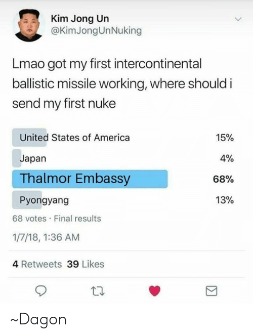 nuke: Kim Jong Un  @KimJongUnNuking  Lmao got my first intercontinental  ballistic missile working, where should i  send my first nuke  United States of America  Japan  Thalmor Embassy  Pyongyang  15%  0%  68%  13%  68 votes Final results  1/7/18, 1:36 AM  4 Retweets 39 Likes ~Dagon