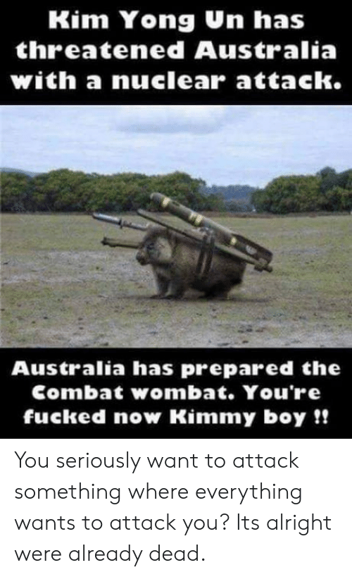 Australia, Alright, and Boy: Kim Yong Un has  threatened Australia  with a nuclearr attack.  Australia has prepared the  Combat wombat. You're  fucked now Kimmy boy!! You seriously want to attack something where everything wants to attack you? Its alright were already dead.