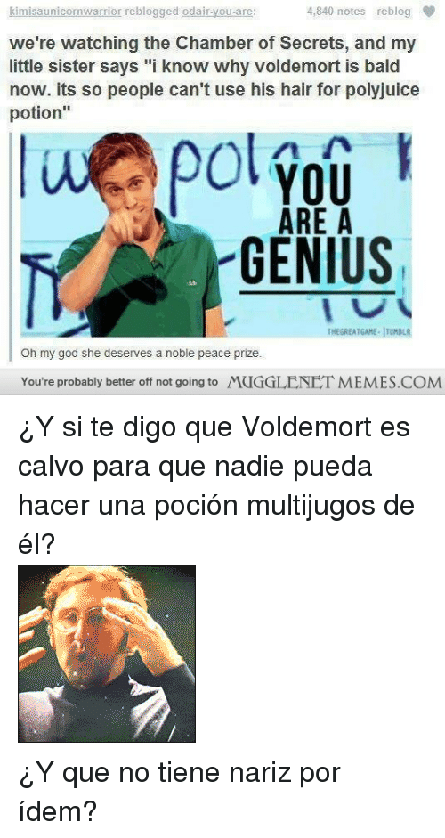 """Reactiongifs: kimisaunicornwarrior re  blogged odairyou are  :  4,840 notes reblog  we're watching the Chamber of Secrets, and my  little sister says """"i know why voldemort is bald  now. its so people can't use his hair for polyjuice  potion""""  ol you  ARE A  GENIUS  TNEGREATGAME JTUMBLR  Oh my god she deserves a noble peace prize.  You're probably better off not going to MUGGLENET MEMES.COM <p>¿Y si te digo que Voldemort es calvo para que nadie pueda hacer una poción multijugos de él?</p> <p><img alt="""""""" src=""""http://www.reactiongifs.com/r/2011/09/mind_blown.gif""""/></p> <p>¿Y que no tiene nariz por ídem?</p>"""