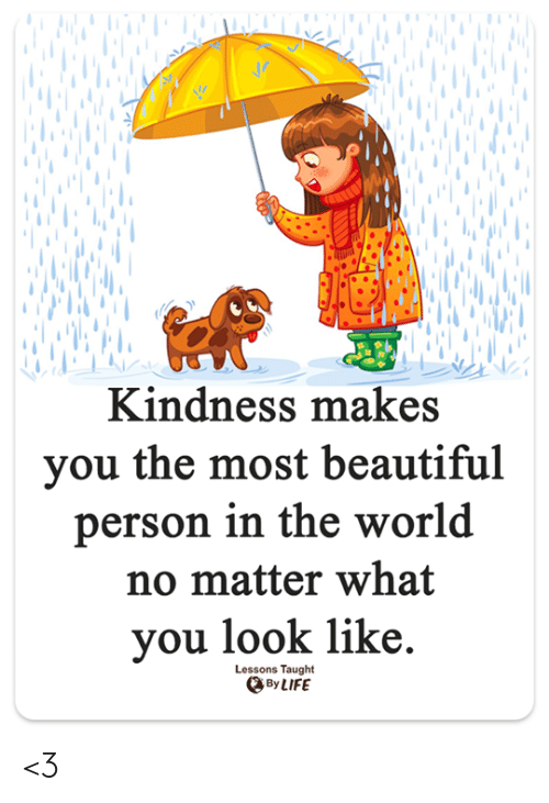 Beautiful, Life, and Memes: Kindness makes  you the most beautiful  person in the world  no matter what  you look like.  Lessons Taught  By LIFE <3