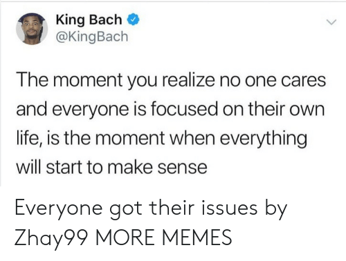 Dank, King Bach, and Life: King Bach  @KingBach  The moment you realize no one cares  and everyone is focused on their own  life, is the moment when everything  will start to make sense Everyone got their issues by Zhay99 MORE MEMES