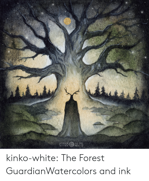 Tumblr, Blog, and Guardian: kinko-white:  The Forest GuardianWatercolors and ink