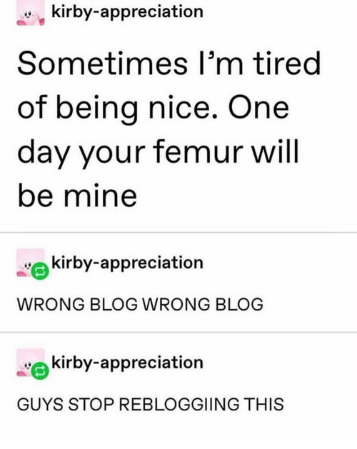nice one: kirby-appreciation  Sometimes I'm tired  of being nice. One  day your femur will  be mine  kirby-appreciation  WRONG BLOG WRONG BLOG  kirby-appreciation  GUYS STOP REBLOGGIING THIS