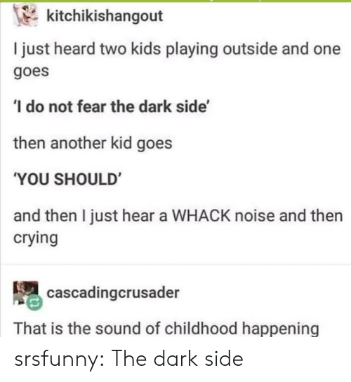 dark side: kitchikishangout  I just heard two kids playing outside and one  goes  do not fear the dark side'  then another kid goes  'YOU SHOULD  and then I just hear a WHACK noise and then  crying  cascadingcrusader  That is the sound of childhood happening srsfunny:  The dark side