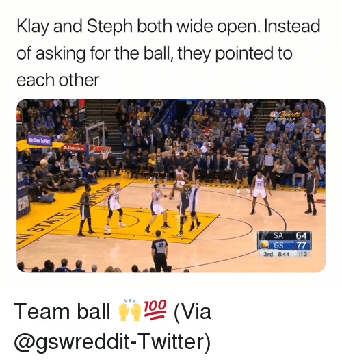 Basketball, Nba, and Sports: Klay and Steph both wide open. Instead  of asking for the ball, they pointed to  each other  SA 64  GS 77  3rd 844 :13  29 Team ball 🙌💯 (Via ⁦‪@gswreddit‬⁩-Twitter)