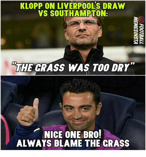 Memes, Nice, and 🤖: KLOPP ON LIVERPOOLS DRAW  VS SOUTHAMPTON:  THE GRASS WAS TOO DRY  NICE ONE BRO!  ALWAYS BLAME THE CRASS