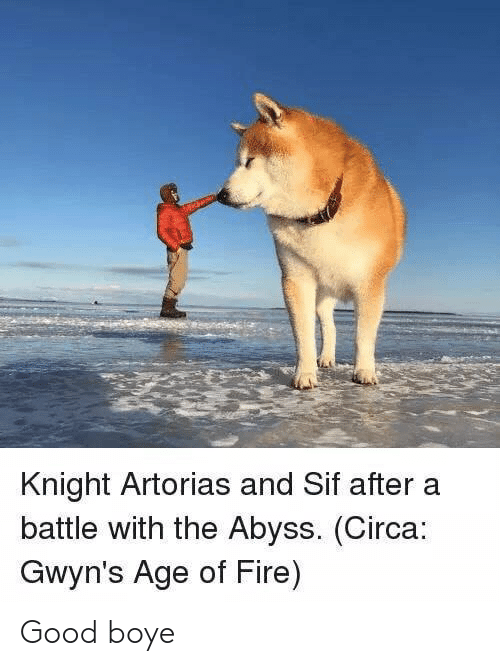 Knight Artorias and Sif Aftera Battle With the Abyss Circa