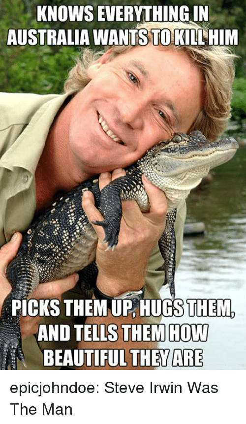 Beautiful, Steve Irwin, and Tumblr: KNOWS EVERYTHING IN  AUSTRALIA WANTS TO KILL HIM  PICKS THEM UP,HUGSTHEM.  AND TELLS THEM HOW  BEAUTIFUL THEWARE epicjohndoe:  Steve Irwin Was The Man