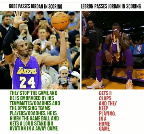 Memes, The Game, and Game: KOBE PASSES JORDAN IN SCORING  LEBRON PASSES JORDAN IN SCORING  ARERS  24  LAK  THEY STOP THE GAME AND  HE IS EMBRACED BY HIS  TEAMMATES/COACHES AND  THE OPPOSING TEAMS  PLAYERS/COACHES. HE IS  GIVEN THE GAME BALL AND  GETS A LOUD STANDING  OVATION IN A AWAY GAME  GETS 3  CLAPS  AND THEY  KEEP  PLAYING  IN A  HOME  GAME