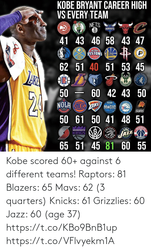 Against: Kobe scored 60+ against 6 different teams!   Raptors: 81 Blazers: 65 Mavs: 62 (3 quarters) Knicks: 61 Grizzlies: 60 Jazz: 60 (age 37) https://t.co/KBo9BnB1up https://t.co/VFlvyekm1A