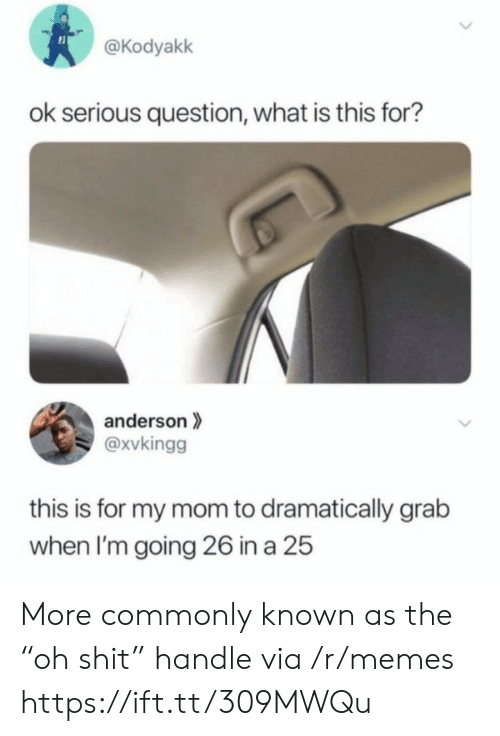 "what is this: @Kodyakk  ok serious question, what is this for?  anderson  @xvkingg  this is for my mom to dramatically grab  when I'm going 26 in a 25  > More commonly known as the ""oh shit"" handle via /r/memes https://ift.tt/309MWQu"