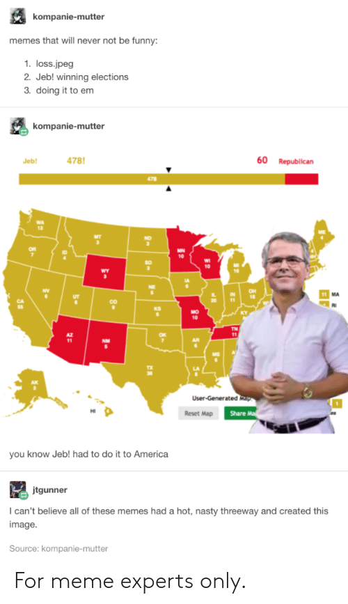For Meme: kompanie-mutter  memes that will never not be funny:  1. loss.jpeg  2. Jeb! winning elections  3. doing it to em  kompanie-mutter  478  60  Republican  Jeb!  478  MN  10  10  wY  OH  18  11  CO  KS  MO  10  TN  11  NM  User-Generated Map  Share M  Reset Map  you know Jeb! had to do it to America  jtgunner  I can't believe all of these memes had a hot, nasty threeway and created this  image  Source: kompanie-mutter  80 For meme experts only.