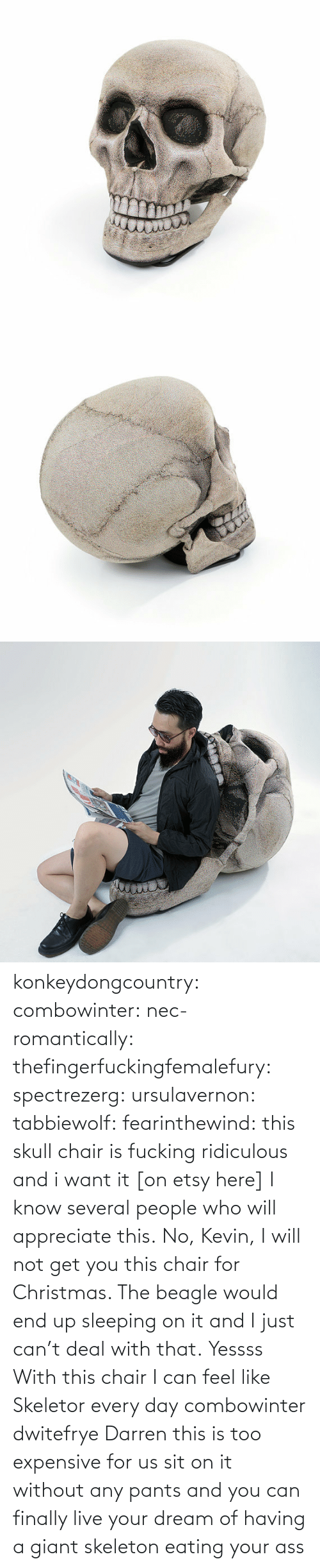 skeletor: konkeydongcountry:  combowinter:  nec-romantically:  thefingerfuckingfemalefury:  spectrezerg:  ursulavernon:  tabbiewolf:  fearinthewind:  this skull chair is fucking ridiculous and i want it [on etsy here]  I know several people who will appreciate this.  No, Kevin, I will not get you this chair for Christmas. The beagle would end up sleeping on it and I just can't deal with that.  Yessss  With this chair I can feel like Skeletor every day  combowinter dwitefrye  Darren this is too expensive for us  sit on it without any pants and you can finally live your dream of having a giant skeleton eating your ass