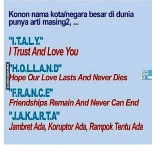 "Love, Indonesian (Language), and Never: Konon nama kotalnegara besar di dunia  punya arti masing2,.  I.TALY  I Trust And Love You  H.O.LLAN.D""  ope Our Love Lasts And Never Dies  FRA.N.C.E  Friendships Remain And Never Can End  ""J.A.K.AR.T.A""  Jambret Ada, Koruptor Ada, Rampok Tentu Ada"