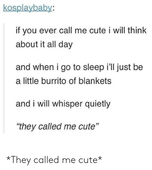 "Cute, Go to Sleep, and Sleep: kosplaybaby:  if you ever call me cute i will think  about it all day  and when i go to sleep i'll just be  a little burrito of blankets  and i will whisper quietly  ""they called me cute""  51 *They called me cute*"