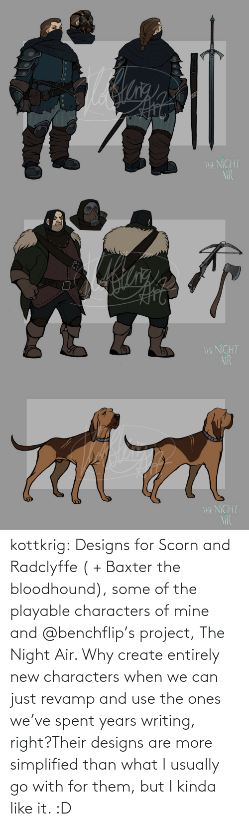 Characters: kottkrig:  Designs for Scorn and Radclyffe ( + Baxter the bloodhound), some of the playable characters of mine and @benchflip's project, The Night Air. Why create entirely new characters when we can just revamp and use the ones we've spent years writing, right?Their designs are more simplified than what I usually go with for them, but I kinda like it. :D