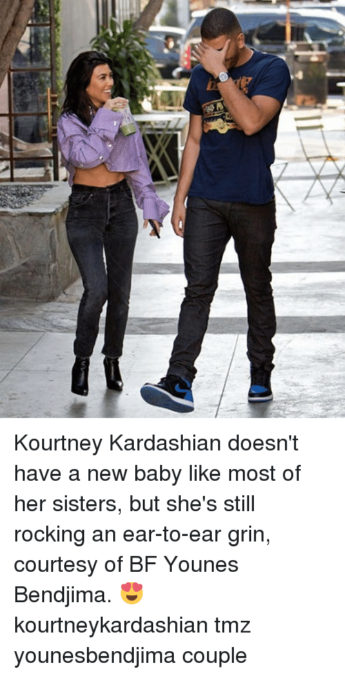 New Baby: Kourtney Kardashian doesn't have a new baby like most of her sisters, but she's still rocking an ear-to-ear grin, courtesy of BF Younes Bendjima. 😍 kourtneykardashian tmz younesbendjima couple