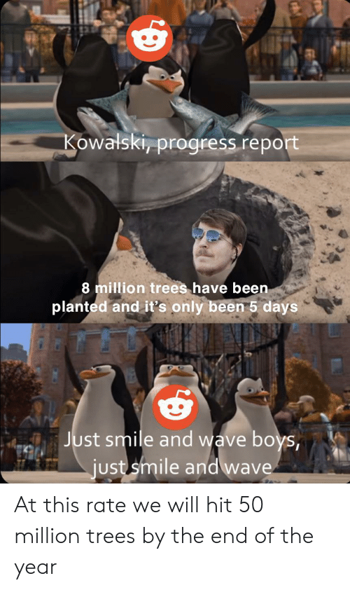 wave: Kowalski, progress report  8 million trees have been  planted and it's only been 5 days  Just smile and wave boys,  just smile and wave At this rate we will hit 50 million trees by the end of the year
