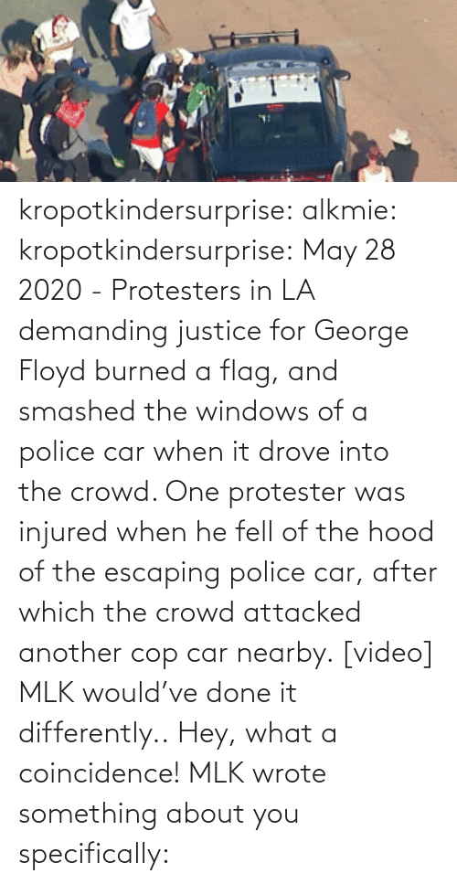 Video: kropotkindersurprise:  alkmie: kropotkindersurprise: May 28 2020 - Protesters in LA demanding justice for George Floyd burned a flag, and smashed the windows of a police car when it drove into the crowd. One protester was injured when he fell of the hood of the escaping police car, after which the crowd attacked another cop car nearby. [video]   MLK would've done it differently..  Hey, what a coincidence! MLK wrote something about you specifically: