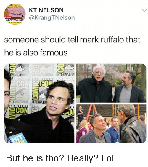 """orks: KT NELSON  aKrangTNelson  ORK'S """"COOL DAD  someone should tell mark ruffalo that  he is also famous  RAL INTERNATIO  C0  CO  ERNATIO 뇨 But he is tho? Really? Lol"""
