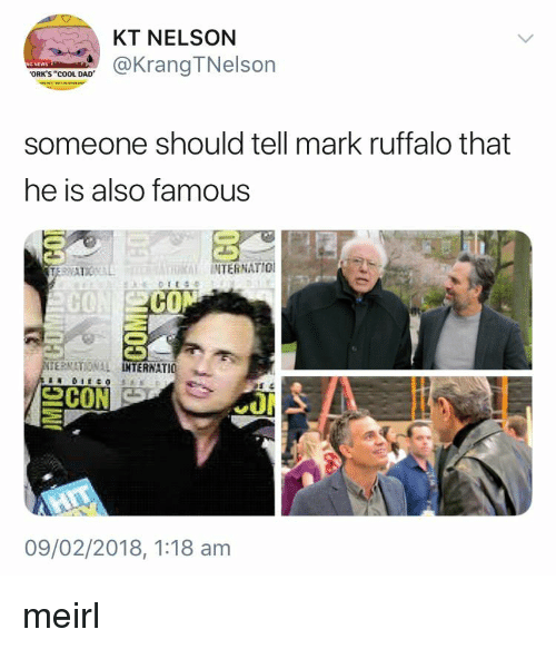 """Dad, Mark Ruffalo, and Cool: KT NELSON  @KrangTNelson  ORK'S """"cOOL DAD  someone should tell mark ruffalo that  he is also famous  INTERNATIO  CO  CO  ERNATIONAL  TERNATIO  09/02/2018, 1:18 am meirl"""