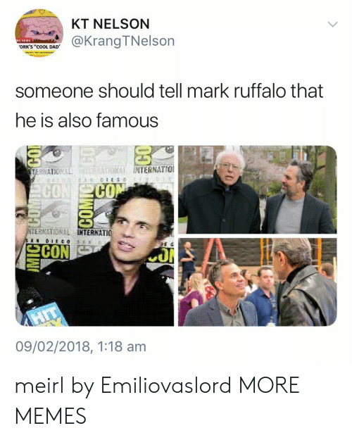 """orks: KT NELSON  @KrangTNelson  ORK'S """"cOOL DAD  someone should tell mark ruffalo that  he is also famous  INTERNATIO  CO  CO  ERNATIONAL  TERNATIO  09/02/2018, 1:18 am meirl by Emiliovaslord MORE MEMES"""